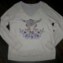 Nwt Pj Salvage Heather Oatmeal Bull Sweater-Knit Pajama/lounge Top L So Soft Photo