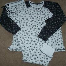 Nwt Pj Salvage Ivory/black Thermal Knit Skullspeacehearts Pajama/lounge Set Xl Photo