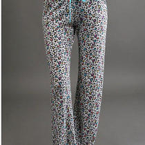 Nwt Pj Salvage Ivory & Multicolor Leopard Print Smooth & Comfy Pj Pants M Photo