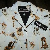 Nwt Pj Salvage Ivory Puppy Dog Mama Flannel Pajama Set Xl Black Stars Beautiful Photo