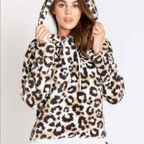 Nwt Pj Salvage Leopard Plush Pullover Hoodie Cardigan Jacket Size M 98 Medium Photo