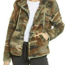 Nwt Pj Salvage Olive Green/brown Plush Faux Fur Camo Hoodie Full-Zip Jacket Xl Photo