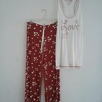 Nwt Pj Salvage Silky Smooth Red White Love Hearts Pajama Pants & Tank Set M Photo