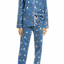 Nwt Pj Salvage Warm Blue/pink Cute Penguin Skier Flannel Pajama Set Xl Chill Out Photo