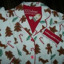 Nwt Pj Salvage Warm Ivory Cotton Flannel Gingerbread Cookie Pajama Set Xs Dogs Photo