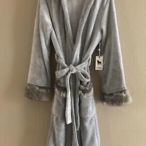 Nwt Pj Salvage Women's Cozy Plush Hooded Robe Gray W/faux Fur Cuffs & Hood Sz M Photo
