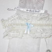Nwt Pleasure State Bridal Garter Belt Ivory Lace With Blue Bow Msrp 40.00 Photo