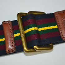 Nwt Polo Ralph Lauren Aviator Striped Cotton Webbed Belt Sz S Blue Red Yellow Photo