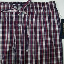 Nwt Polo Ralph Lauren Burgundy/navy/ivory Plaid Woven Pajama/lounge Pants M Pony Photo