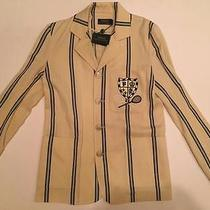 Nwt Polo Ralph Lauren Campbell Tennis Blazer Cream Navy Stripe Jacket 4 498 Photo
