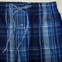 Nwt Polo Ralph Lauren Navy/royal Blue/white Plaid Pajama/lounge Pants M Red Pony Photo