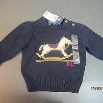 Nwt - Polo Ralph Lauren Rocking Horse Navy Sweater 6-12 Months 65 Photo