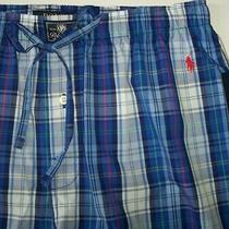 Nwt Polo Ralph Lauren Taylor Blue/white Cotton Pajama/lounge Pants M Red Pony Photo