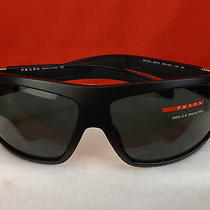 Nwt Prada Mod Sps O3h  Black Plastic Frame 1bo-301 Red Logo Sunglasses Italy   Photo