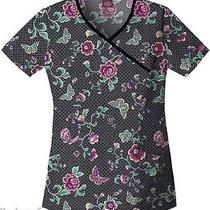 Nwt Princess Mock Wrap Scrubs Top Dickies 84746 Tea Garden Medium Free Ship Photo
