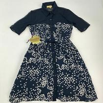 Nwt Princess Vera Wang Dress Sz 0 Navy Blue Short Sleeve Button Up Star Sheer Photo