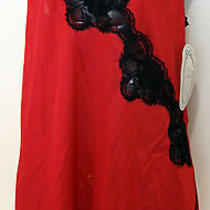 Nwt Private Treasures by Avon Sexy Red Lingerie W/ Peekaboo Black Lace & Slit M Photo