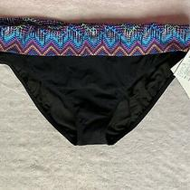 Nwt Profile Blush Black Foldover Swimsuit Bikini Brief Bottom Size 16 Photo