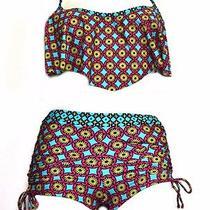 Nwt Profile Blush  Multi Color Flounce Top  Boy Short Sz M D Cup Bikini  220762 Photo