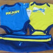 Nwt Puma 3pc Boys Set 2 Bodysuit Romper Laylette /sweatpant Clothes Sz 0/3 Mo Photo