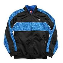 Nwt Puma Boys Track Full Zip Blue Black Athletic Performance Jacket M 12-14 Photo