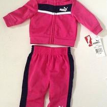 Nwt Puma Girl Pink Athletic Track Pants Jacket Shirt Outfit Set Sz 0-3m Photo