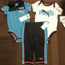 Nwt Puma Logo Baby Boys Pants Shirt Bodysuit 3pc Outfit Set Sz 3-6 M Blue  Photo