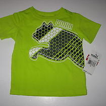 Nwt Puma Toddler Boys 2t  Short Sleeve Neon Green Cotton Logo Tee T-Shirt  Photo