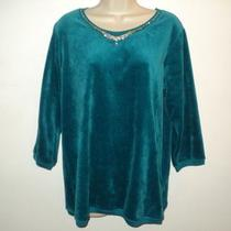 Nwt Quacker Factory Velour Shirt Top Size M Aqua Blue Rhinestones 3/4 Sleeve New Photo