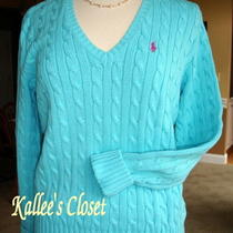 Nwt Ralph Lauren 100% Cotton Cable Knit Long Sleeve v-Neck Sweater L/xl Aqua Photo