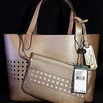 Nwt Ralph Lauren Leighton Shopper Medium Tote Handbag Gold/ivory Perforated 148 Photo