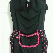 Nwt Rampage Intimates Women's Lingerie Maid Teddy Black Pink Polka Dots Size 38c Photo