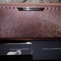 Nwt Rebecca Minkoff Luma Rose Gold Saffiano Leather Stud Large Zip Around Wallet Photo