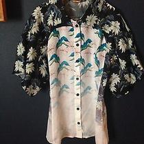 Nwt Rebecca Minkoff Womens Size 0 Xs Hip Fashion Floral Silk Short Sleeve Blouse Photo