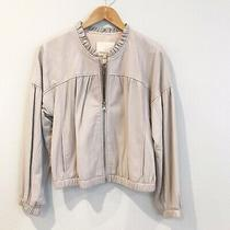 Nwt Rebecca Taylor Ruffle-Trim Lambskin Leather Jacket Bomber Fossil Gray Sz 4 Photo