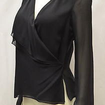Nwt Robert Rodriguez Black Silk Faux Wrap Layered Front Top Sz 0 140486fi Photo