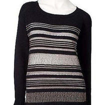 Nwt Rock & Republic Collection Lurex Striped Sweater Size Large Unique Rare Photo