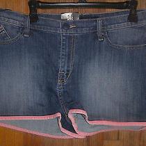 Nwt Rock & Republic Dolphin  Denim Pink Trim Jean Short Size 16 Photo