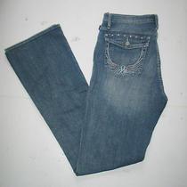 Nwt Rock & Republic Women's Embellished Bootcut Blue Jeans Eagle Wing Sz 8 32x33 Photo