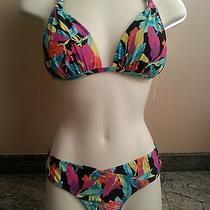 Nwt Roxy Swimsuit 2pc Bikini Set Sz L Fixed Boost Halter Photo