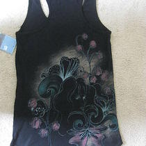 Nwt Roxy Tank Top M Medium 100% Cotton Black Aqua Pink Print on Back Swim Cover Photo
