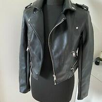 Nwt Rrp 250 Rare Guess Faux Leather Cropped Black Vintage Jacket Logo Size Xs Photo