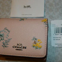 Nwt's Coach Pink Blossom Multi Floral Design Tri Fold Wallet Leather F2924 Sale Photo