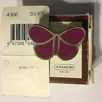 Nwt's Coach Pink Enamel Butterfly Lapel Pin / Push Pin / Brooch - Retired Photo