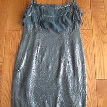 Nwt S Dress Susana Monaco Ruffle Sequin Teal Silk 4 Xs 380 Photo