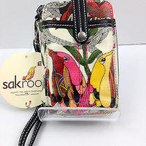 Nwt Sakroots Artist Circle Smart Phone Iphone Wallet Wristlet Peace Print Birds  Photo