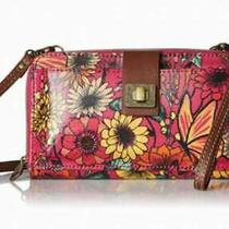 Nwt Sakroots Large Smartphone Wristlet Crossbody Raspberry in Bloom Iphone   Photo