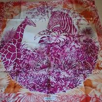 Nwt Salvatore Ferragamo Jungle-Print Square 100% Silk Scarf Fuchsia Pink 34x34