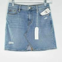 Nwt Sanctuary Leo 5 Pocket Mini Skirt Distressed High Waisted Blue Size 26 Photo