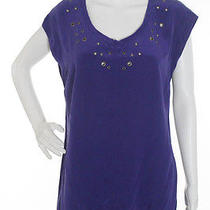 Nwt Sanctuary Purple Sleeveless v-Neck Grommet Embellished Silk Tunic Sz Xs Photo